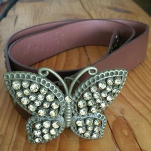 Accessories - Gold butterfly leather belt